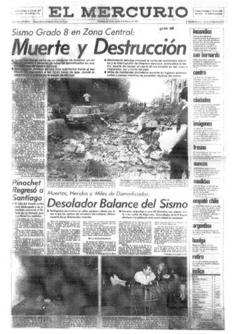 Titular de El Mercurio Sismo Grado 8 Muerte y Destruccion